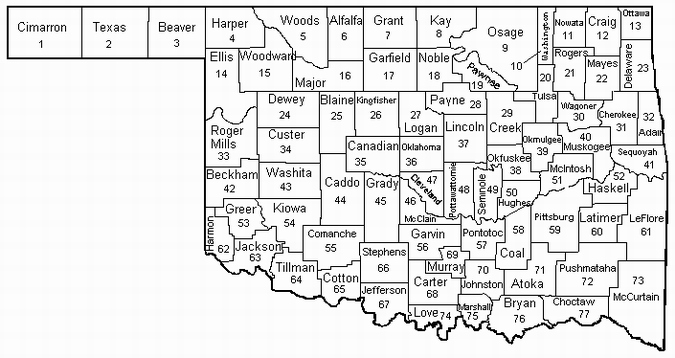 Okmapjpg - Counties of oklahoma map